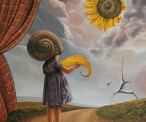 sun, sunflower, and girl image