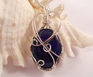 blue, wire wrapped, and handmade image