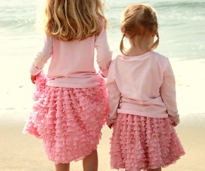 pink, beach, and sisters image