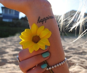 happiness, flowers, and tattoo image