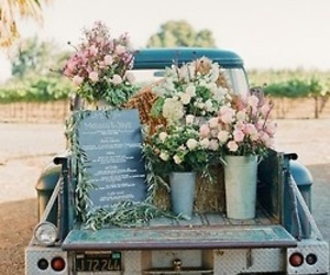 flowers, vintage, and truck image