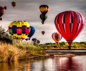 hot air balloons, travel, and vacation image