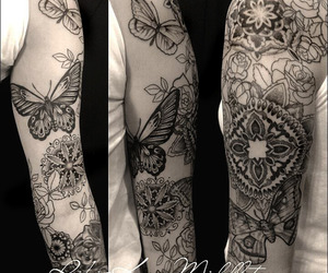 black and grey, butterfly tattoo, and mandala tattoo image