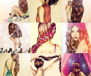 draws, girls, and hairs image