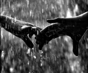 love, rain, and hands image