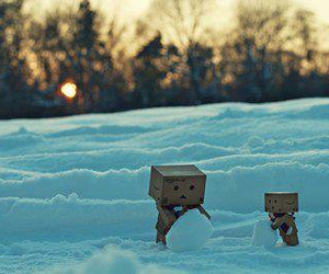 danbo, snow, and snowman image