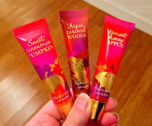 apple, cosmetics, and lip gloss image