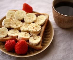 food, banana, and strawberry image
