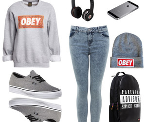 backpack, jeans, and obey image