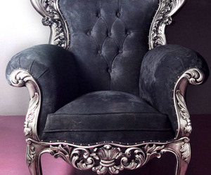 chair, black, and silver image