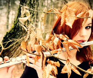 girl, flute, and autumn image