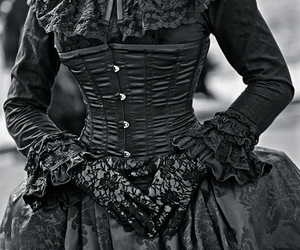 goth, black, and corset image