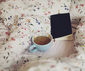 tea, book, and bed image
