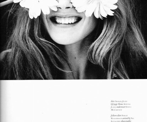 black and white, girl, and daisies image