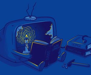 book, open mind, and tv off image