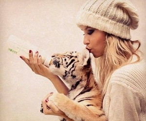 tiger, girl, and blonde image