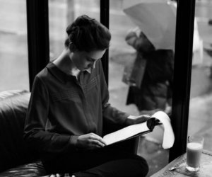 book, black and white, and woman image