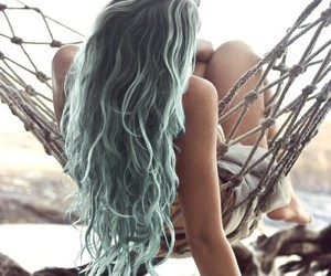 blue, hairstyle, and summer image