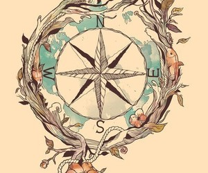 art, bird, and compass image