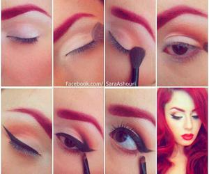 make up, red, and makeup image