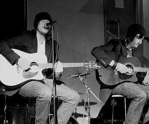 black and white, boys, and guitar image