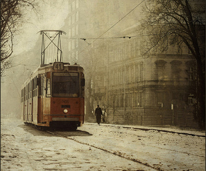 snow, tram, and winter image