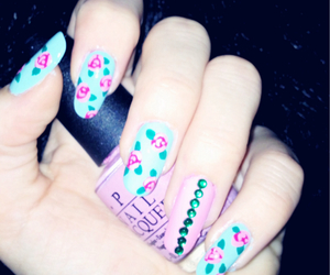 blue, nail art, and pink image