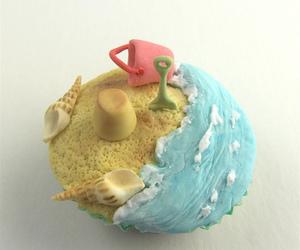 cupcake, beach, and ocean image