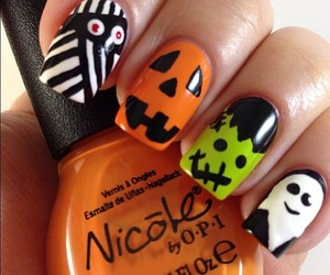 Halloween, nails, and pumpkin image