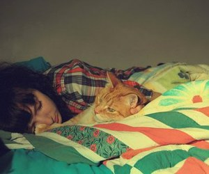 girl, cat, and bed image