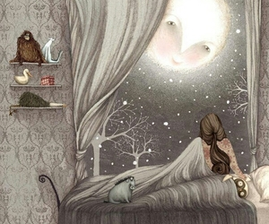 bed, moon, and bedroom image