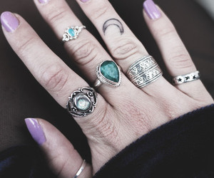 rings, tattoo, and moon image