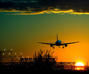 sunset, airplane, and plane image