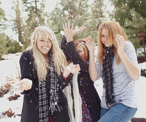 friends, girl, and snow image