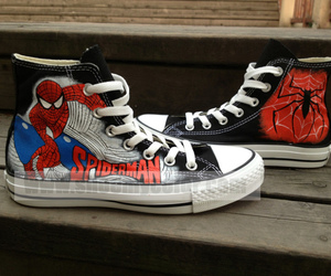 spider man, fashion shoes, and hand painted shoes image