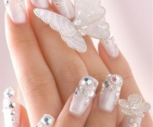 butterfly, nails, and white image