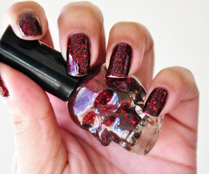 nails, red, and skull image