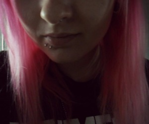 color hair, piercing, and rammstein image
