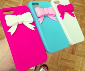 bow, case, and pink image
