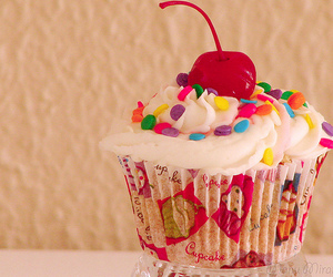 cupcake, cherry, and food image
