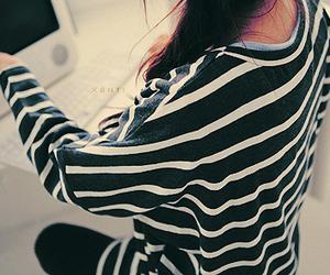 fashion, girl, and stripe image