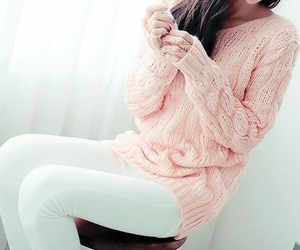 pink, girl, and sweater image