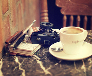 camera, coffee, and cup image