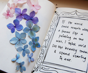 quote, flowers, and book image