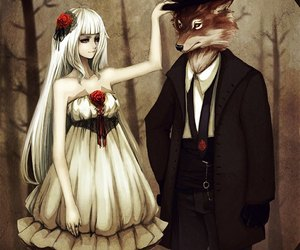 anime, wolf, and art image