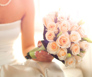 bouquet, bride, and roses image