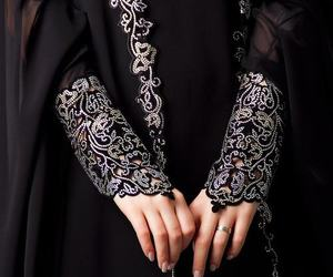 abaya, black, and dress image