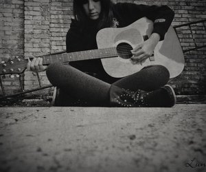 black and white, girl, and music image
