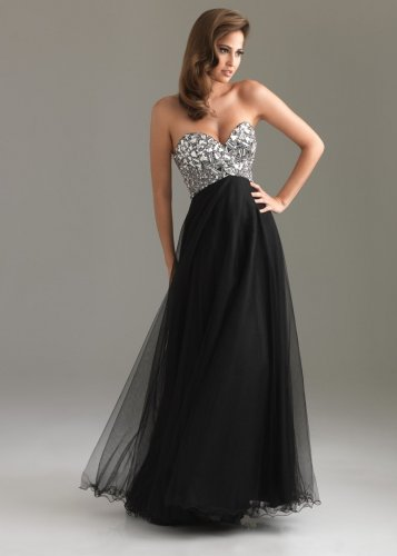 Glittering Black Sequin Top Pleated Layered Long Prom Dress [Black ...