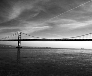 bridge, black and white, and sky image